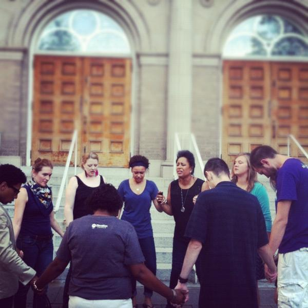 Praying outside of Uptown before the Worship Experience