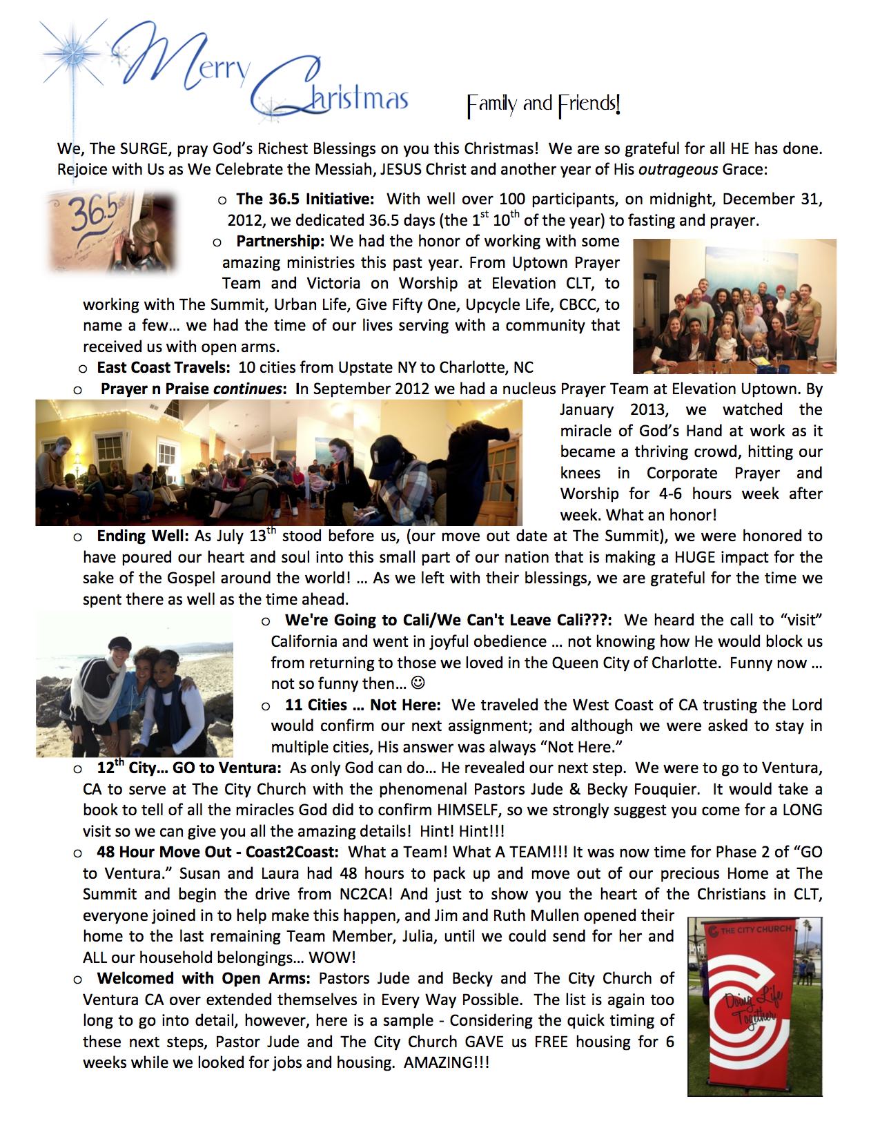 Christmas Newsletter 2013 - 1st pg