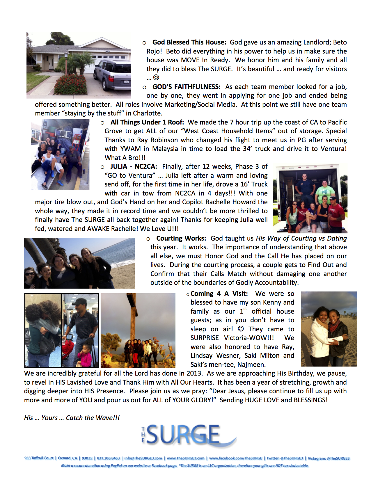 Christmas Newsletter 2013 - 2nd pg
